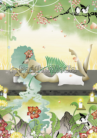 frau entspannen im natur spa