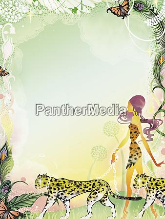 sexy frau zu fuss leoparden in