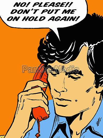 frustrierter mann beim telefongespraech in sprechblase