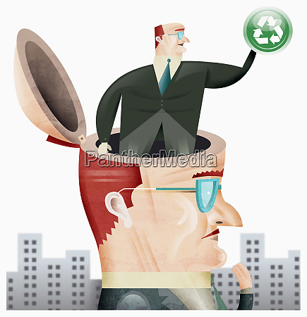 businessman with businessman in his head