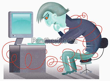 der mensch am computer in der