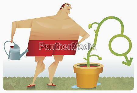 mensch bewaesserung pflanze in form von