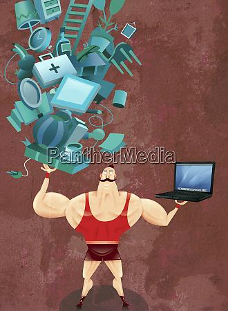 strong man balancing laptop and household