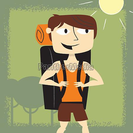 laechelnde mann im sommer rucksack