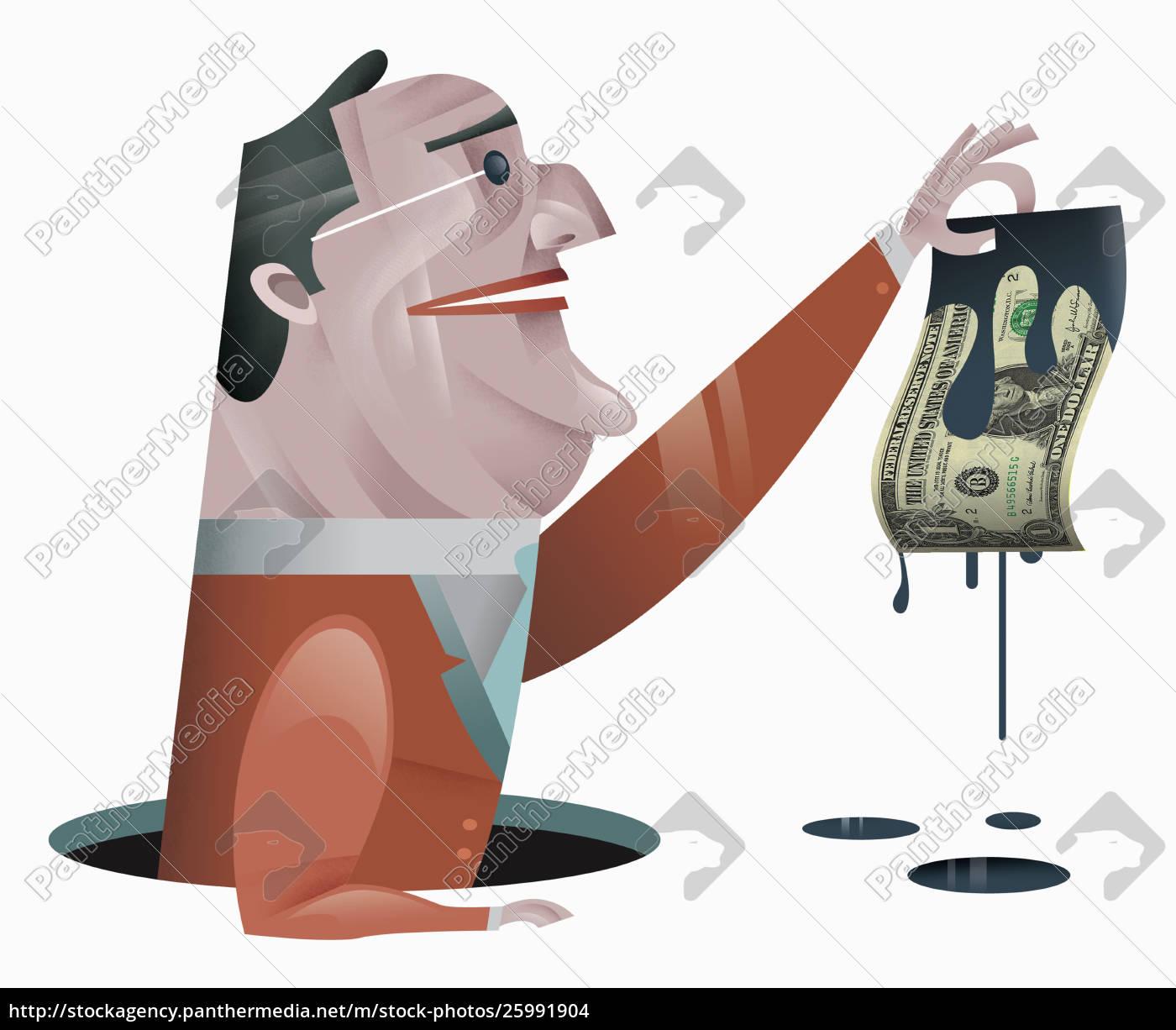 Lizenzfreies Foto 25991904 Geschaftsmann Halt Dollar Rechnung Tropft Ol