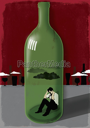 man inside a wine bottle