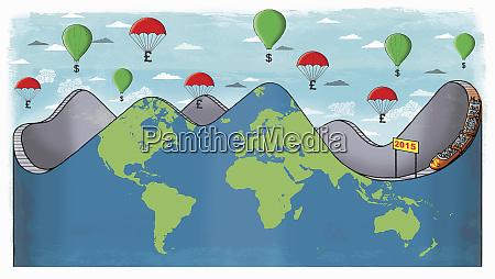 globale achterbahn mit geldballons oben