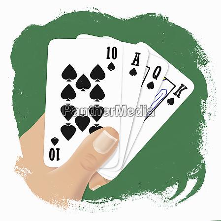 hand haelt spielkarten