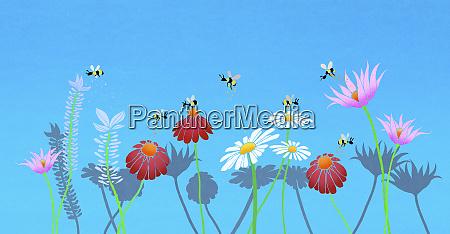 gruppe der bienen bestaeubende blumen