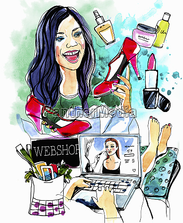 collage der frau die online einkauft