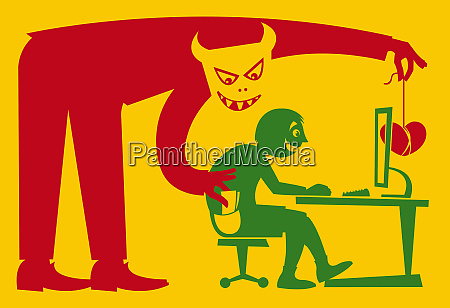 pickpocket luring man at computer with