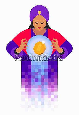 gluecksager in kristallkugel mit dollarzeichen