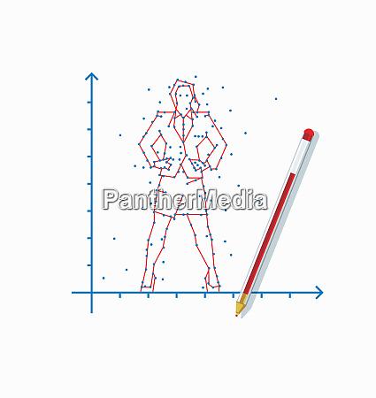 punkt zu punkt geschaeftsfrau auf grafik