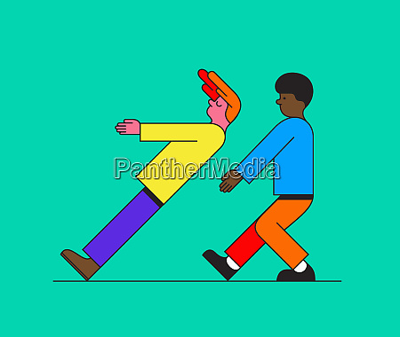 boy falling down trusting on friend