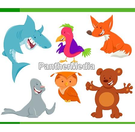 wild animal characters cartoon set