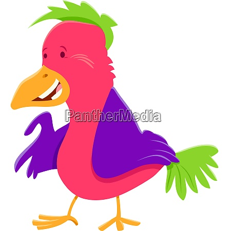 funny colorful bird cartoon character