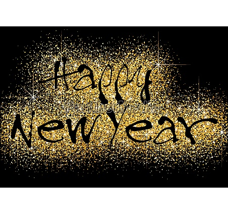 happy new year greeting with gold