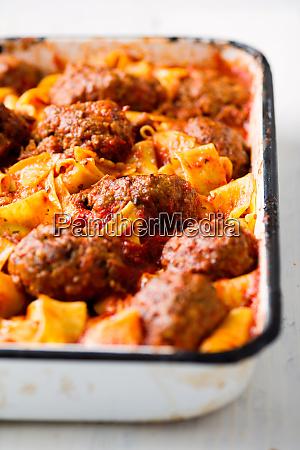 rustic italian meatball pappardelle pasta