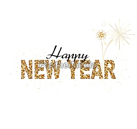 happy new year gold glitter design