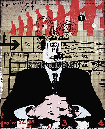businessman with robotic head