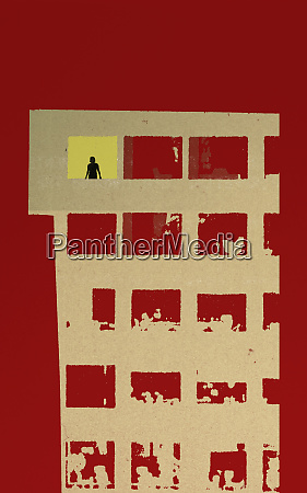 lonely person in apartment window