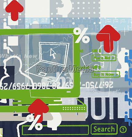 montage von computer pfeil und finanzsymbolen