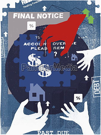 hands putting together financial puzzle