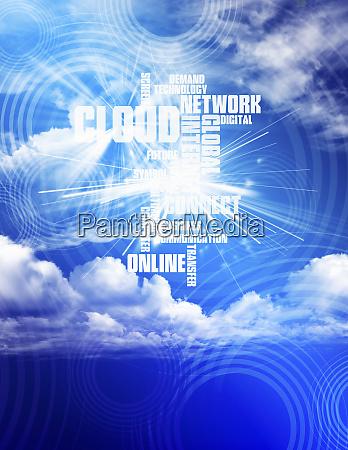 computerende schlagworte gegen wolkenverhangenen blauen himmel