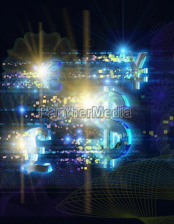 hell beleuchtete waehrungssymbole und pixel auf