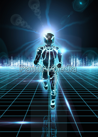 glowing android running on grid from