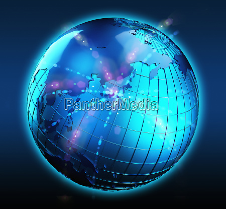 blue globe with bright lights focused