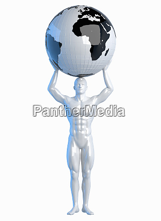 statue of man holding world above