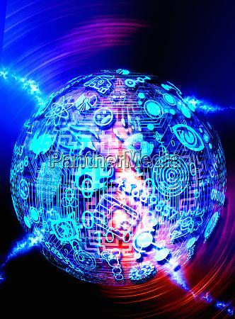 spinnkugel mit labyrinth und piktogrammen ueberzogen