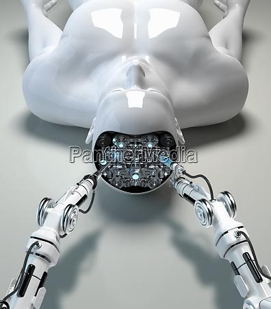 roboterarm repariert gehirn von maennlichen android