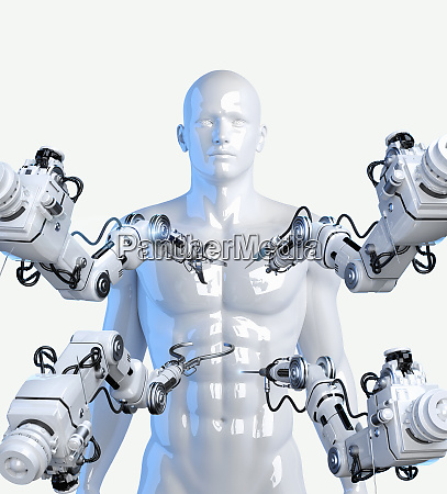 robotic arms with tools around model