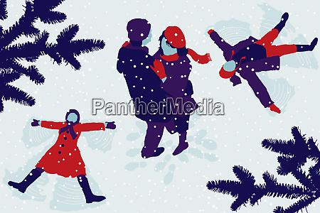 ehepaare und kinder machen schneeangels