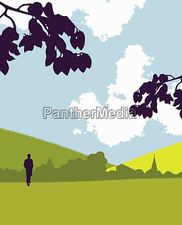 ruhiger mann zu fuss im park