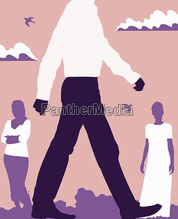 women watching man walk