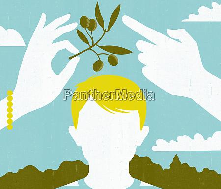 mann und frau die den olivenzweig
