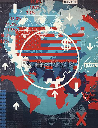 montage von kartenbildern und finanzsymbolen
