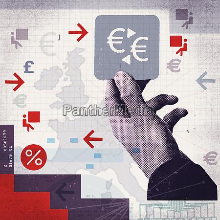 grosse hand haelt quadrat mit euro