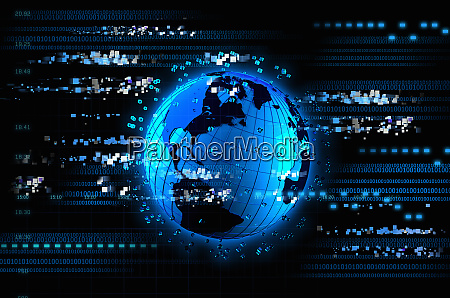 bright blue futuristic globe with digital