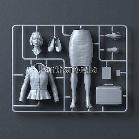 kunststoff montage kit fuer geschaeftsfrau