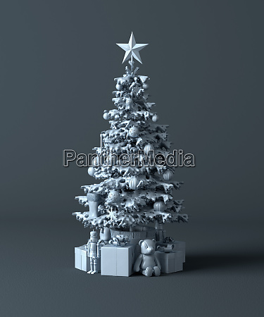 plastic christmas tree with decorations and