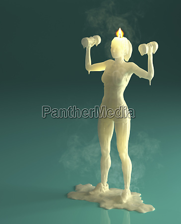 melting wax candle of woman weight