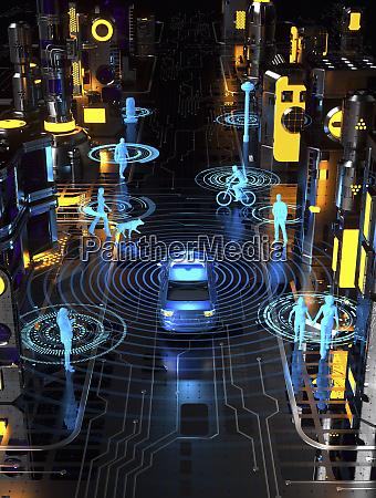 driverless car in futuristic city street