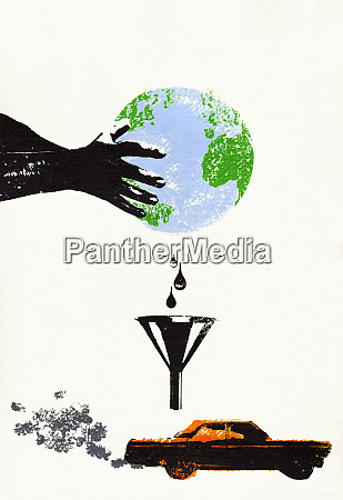 hand holding green globe dripping fuel