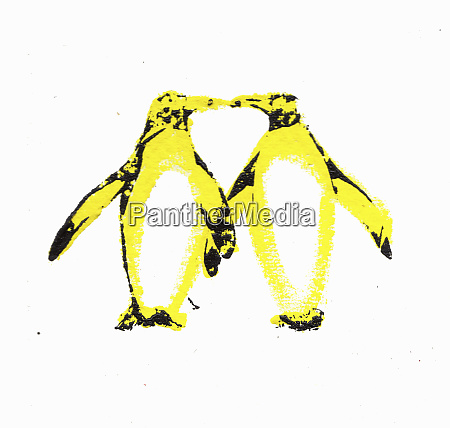 two penguins kissing with necks forming