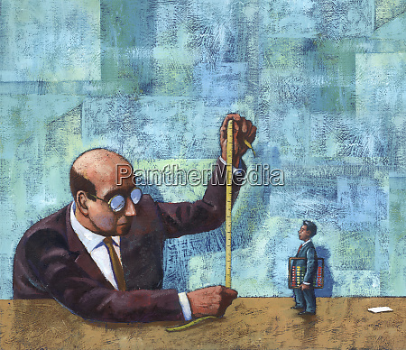 large businessman measuring small businessman
