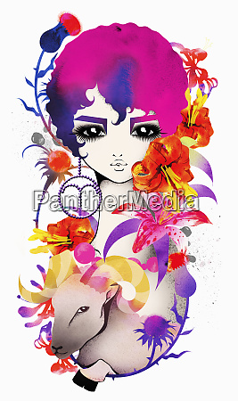 astrology woman with aries zodiac symbol